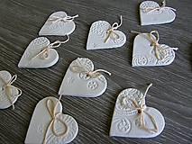 Darčeky pre svadobčanov - keramické srdiečko biele 5 cm - 5364581_