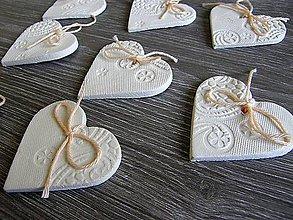 Darčeky pre svadobčanov - keramické srdiečko biele 5 cm - 5364580_