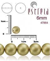 Korálky - Voskované perly zn.Estrela (47864 - matná zlatá platina) 6mm, bal.21ks - 5366237_