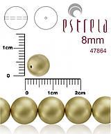 Korálky - Voskované perly zn.Estrela (47864 - matná zlatá platina) 8mm, bal.15ks - 5366275_