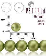 Korálky - Voskované perly zn.Estrela (47593 - matná zelená khaki) 8mm, bal.15ks - 5366306_