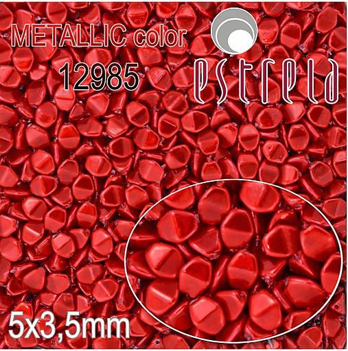Voskované korálky Pohánka zn. Estrela, METALLIC 12985 (červená), 5x3,5mm, bal.20ks