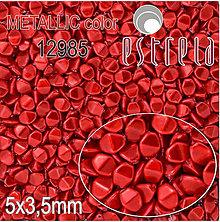 Korálky - Voskované korálky Pohánka zn. Estrela, METALLIC 12985 (červená), 5x3,5mm, bal.20ks - 5367197_