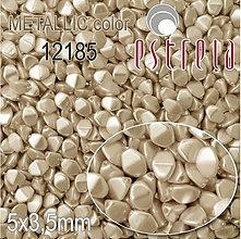 Korálky - Voskované korálky Pohánka zn. Estrela, METALLIC 12185 (platinová), 5x3,5mm, bal.20ks - 5367367_