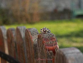 Prstene - Romantický strieborný prsteň s achátom a kvietkami - 5364793_