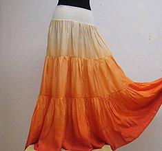 Sukne - Zralé meruňky...dlouhá hedvábná sukně - 5367882_