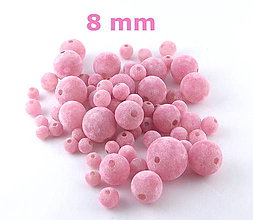 Korálky - Zamatky - Ružové /8mm - 5370663_