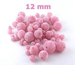 Korálky - Zamatky - Ružové /12mm - 5371210_