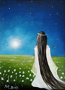 Obrazy - Malá nočná víla - mal'ovaný obraz - 5368598_