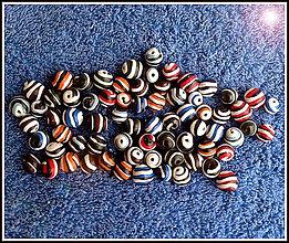 Korálky - Pruhované handmade korálky - 5368274_