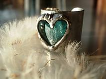 Prstene - Akvamarínové srdiečko- prsteň tiffany - 5373578_
