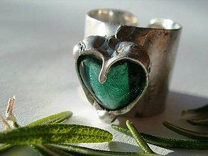 Prstene - Smaragdové srdiečko-prsteň tiffany - 5373632_