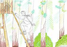 Obrázky - Poľovník -- akvarelové voskovky - 5373916_