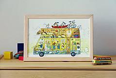 Obrázky - Na dovolenku karavanom... ilustrácia v drevenom ráme - 5375494_