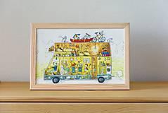 Obrázky - Na dovolenku karavanom... ilustrácia v drevenom ráme - 5375496_
