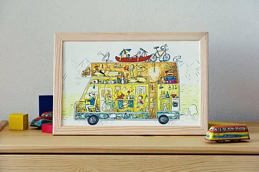 Na dovolenku karavanom... ilustrácia v drevenom ráme