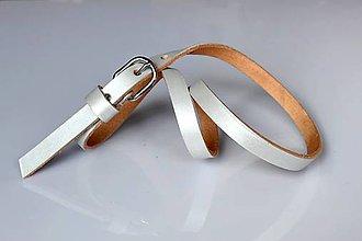Opasky - Kožený úzký pásek - stříbrná - 5372195_