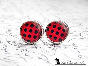 Náušnice - Čierne bodky na červenom / strieborné lôžko - 12mm - 5377215_