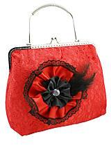 Kabelky - Spoločenská dámská čipková kabelka červená 0976A - 5379951_