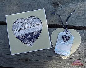 Papiernictvo - V modrom ... pohľadnicové svadobné oznámenie s visačkou - 5377004_