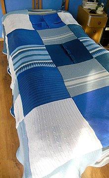 Úžitkový textil - Modrá prikrývka na posteľ - 5381349_