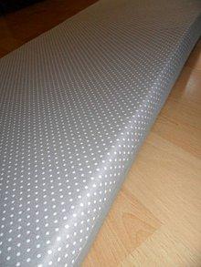 Úžitkový textil - Sedák na lavicu - šedý s bodkami-145x40 cm - 5383786_