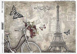 Papier - Ryžový papier Bicykel s košíkom 725 - 5383080_