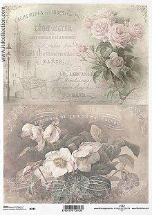 Papier - Ryžový papier Biele kvety a ruže 731 - 5383847_