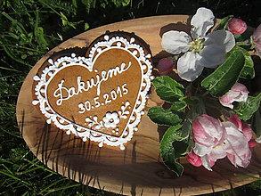 Darčeky pre svadobčanov - Srdiečko svadobné - medovník 1 - 5386847_