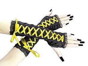 Rukavice - Dámské čierno žlté rukavice 0365 - 5392057_