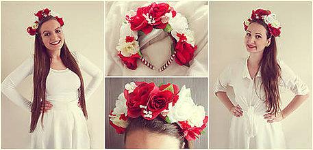 Ozdoby do vlasov - Bielo-červená kráska-čelenka - 5393713_