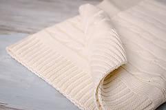 Textil - Jarná/LetnáPletená Deka OEKO-TEX® do Kočíka a Postieľky vzor Vrkoč - Béžová - 5393951_