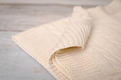Textil - Jarná/LetnáPletená Deka OEKO-TEX® do Kočíka a Postieľky vzor Vrkoč - Béžová - 5393961_