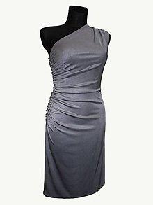Šaty - strieborné riasené šaty - 5397944_