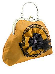 Kabelky - Spoločenská kabelka zlatá okrová 1110 - 5400759_