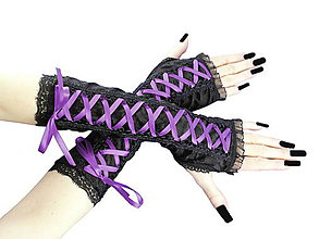 Rukavice - Dámské čierno fialové rukavice 0365 - 5404672_