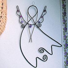 Dekorácie - anjel fialový - 5405543_