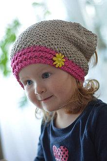 Detské čiapky - Béžovo - růžový šátek - 5404049_