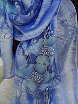 Šatky - modré kvety - 5405239_