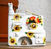 Dekorácie - Keramická piecka s mačkou - slnečnice - 5405318_