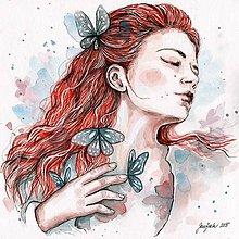 Obrazy - Dievča s motýľom, akvarel - 5404019_