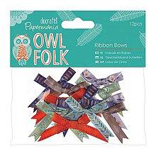 Galantéria - Mašličky veľké Owl Folk - 5406669_