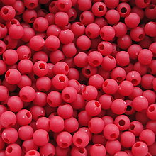 Korálky - Plast MATT 4mm-5g-cca165ks (červená) - 5407529_