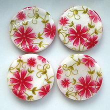 Korálky - Perleť.placka 25mm-kvety-1ks - 5407581_