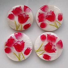 Korálky - Perleť.placka 25mm-tulipány-1ks (č.1) - 5408886_