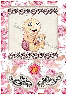 Papiernictvo - Kvetinové blahoželanie k narodeniu dieťatka 6 - 5406732_