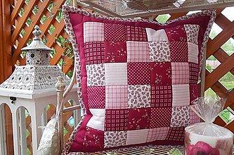 Úžitkový textil - patchwork obliečka 40x40 cm bordovo - ružovo - biela - 5409909_