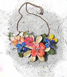 Náhrdelníky - kvetinový náhrdelník, folk garden flovers 2 - 5412550_
