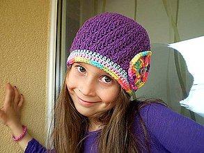 Detské čiapky - Fialová čiapočka - 5409790_