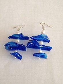 Náušnice - Iné, netradicne nausnice z plastovych kuskov, modra plastova flasa - 5411295_